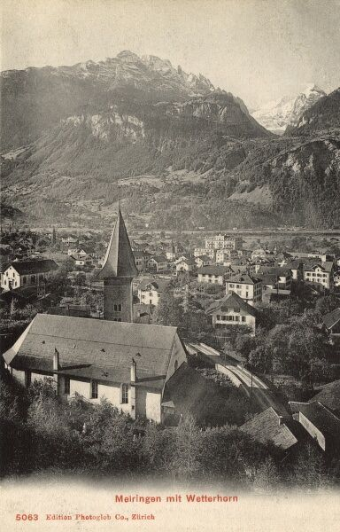 The Town of Meiringen, Switzerland and the Wetterhorn Mountain Date: 1910s