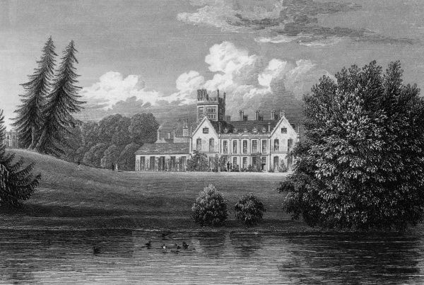 Melbury House, Dorset, viewed across the water. Date: circa 1830