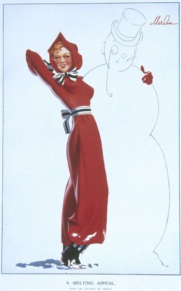 Pin up girl by Merlin Enabnit (1903-1979) dressed in a festive, scarlet snowsuit and posing with a snowman