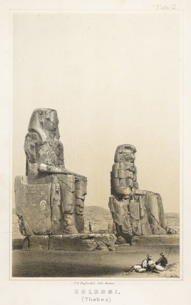 The so-called Memnon statues of Amenophis III, which emit a sound like the snapping of a cord at daybreak, attributed to Memnon's mother Eos, goddess of the Dawn, weeping