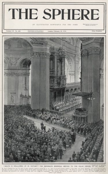 A birds-eye view of the interior of St. Paul's Cathedral during the memorial service to Captain Scott and his four companions who lost their lives on the return from their failed attempt to be the first to reach the South Pole in March 1912