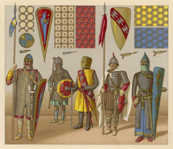 Men in armour, shields, banners ; with details of chain-mail