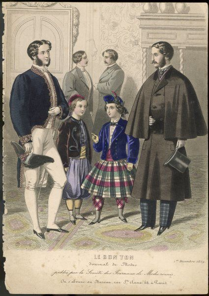 Two men, one in formal wear (academician ?) and one in outdoor wear, with two boys, one in zouave outfit, the other in a kilt and bonnet
