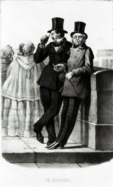 Two fops on a bridge in Stockholm, Scene from Swedish every day life  1850s