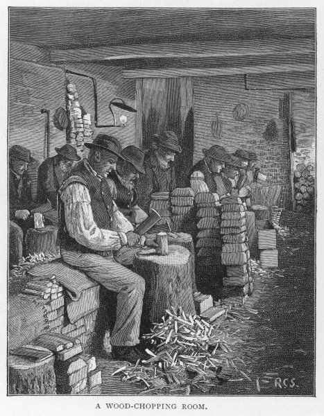 Men chopping wood in the workhouse