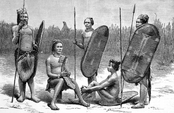 Engraving showing some men of the Niam-Niam Tribe, Sudan, c.1887. One man is holding a stringed musical instrument, whilst the others hold characteristic spears and shields
