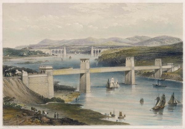 The Britannia Tubular Bridge (foreground) designed by Robert Stephenson and opened in 1850 and the Menai Suspension Bridge designed by Thomas Telford, opened in 1826
