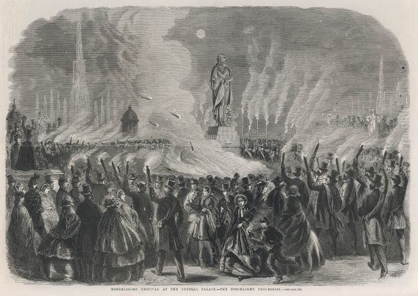 A torchlight procession during the Mendelssohn Festival at Crystal Palace. It followed the unveiling of Bacon's statue of the composer