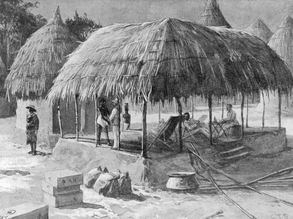 A palaver hut at Mafweh in Sierra Leone, West Africa commandeered as a mess house by the West Indian Regiment during the Mendi expedition of 1898