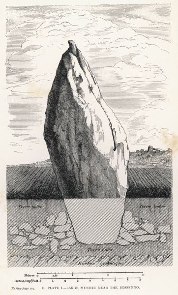 A cross-section of a large menhir, close to the site of the Bossenno; a cluster of prehistoric barrows, and a Gallo-Roman villa