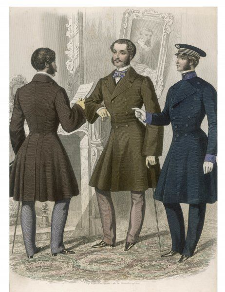 Frock coat with funnel or pagoda sleeves in imitation of the current female fashion shown from the rear & front on. One coat has a naval air with embroidered stand collar