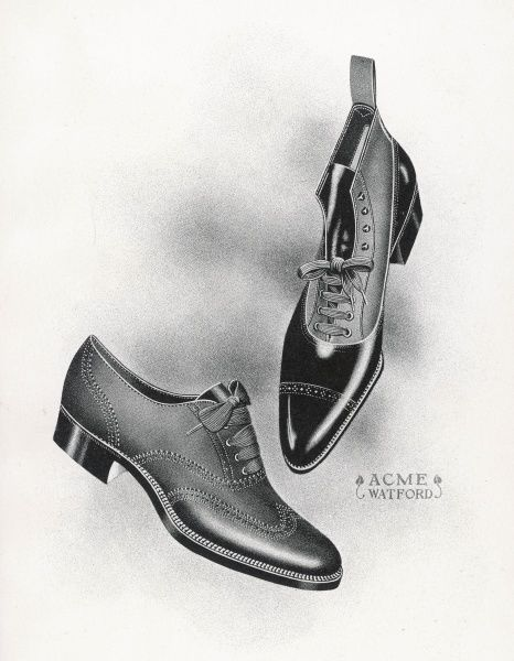 An example of a front lacing shoe & boot with a contrasting upper which may be composed of canvas
