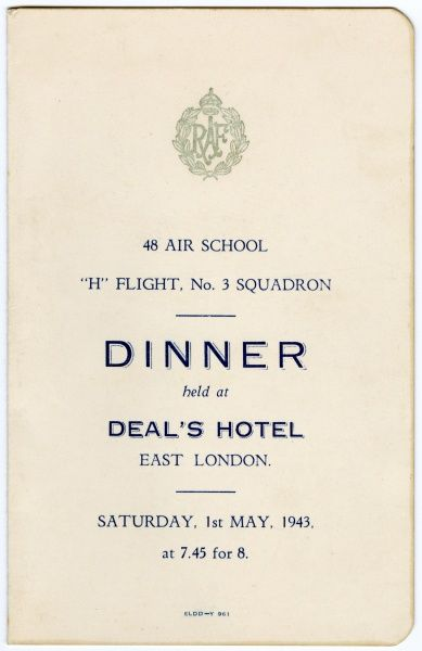 The cover of a menu card for a Royal Air Force dinner held at Deal's Hotel in East London, South Africa for 48 Air School on Saturday 1st May 1943