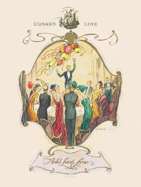 Menu cover for RMS Samaria, Cunard Line, featuring New Years Eve celebration (Auld Lang Synes) Date: 1934