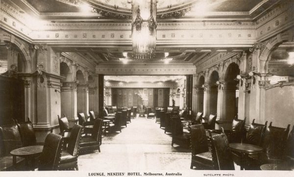 Lounge of the Menzies Hotel, Melbourne, Australia