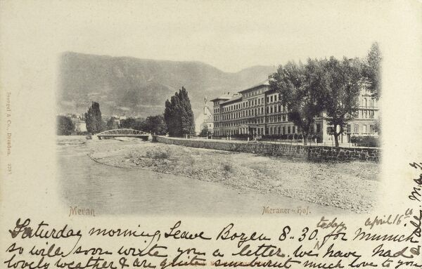Merano, Italy - General View. After World War I, Meran became part of Italy with the rest of the southern part of the County of Tyrol. Date: 1898