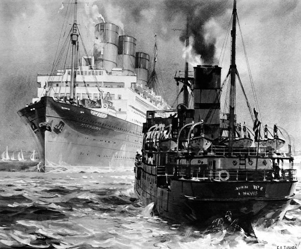 Illustration of a merchant steamer and passenger liner passing close by in the narrow Brambles Channel, off Southampton