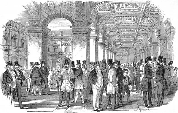 Engraving showing the South-West angle of the Merchant's Walk, Royal Exchange, London, 1847
