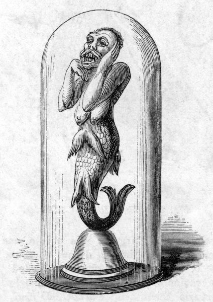 A 'Mermaid' exhibited in London. Date: circa 1875