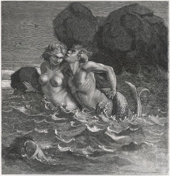 A mermaid wraps her tail round her human lover and drags him to his doom Date: 1919