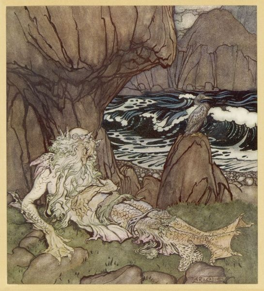 A merman on the beach [illustration to 'The Three Golden Apples] Date: 1922