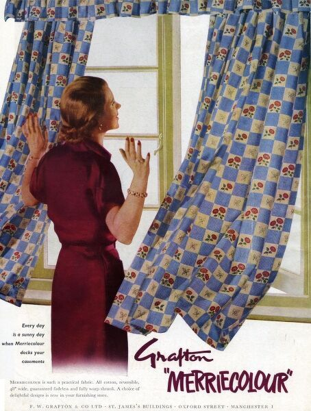 Advertisement for Grafton Merricolour fabrics featuring a woman looking out of a window as her jolly Merricolour curtains flap in the breeze. 1950s