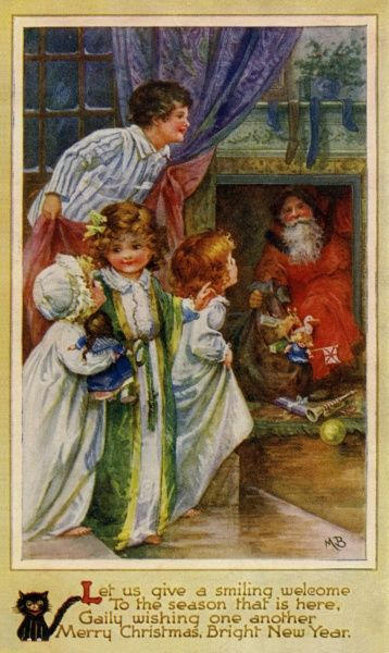 Merry Christmas, Bright New Year -- four children spot Santa Claus in the fireplace.  circa late 19th century