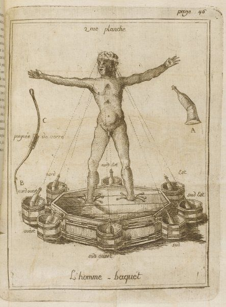 Five minutes of treatment by the baquet-homme suffice to produce wonderful effects on an ailing body thanks to the forces emitted by the eight bottles round the octagon