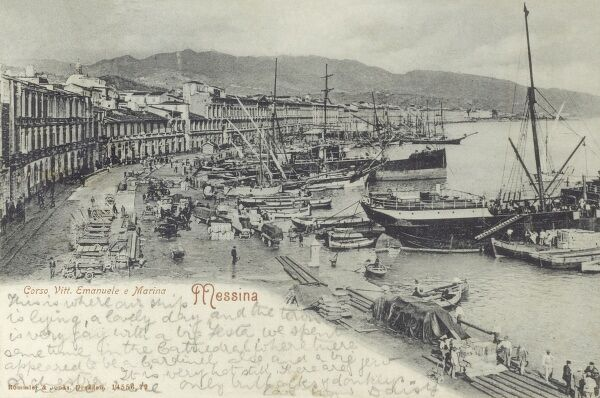 Messina, Italy - Corso Vittorio Emanuele II, the Harbour and the waterfront Date: 1905