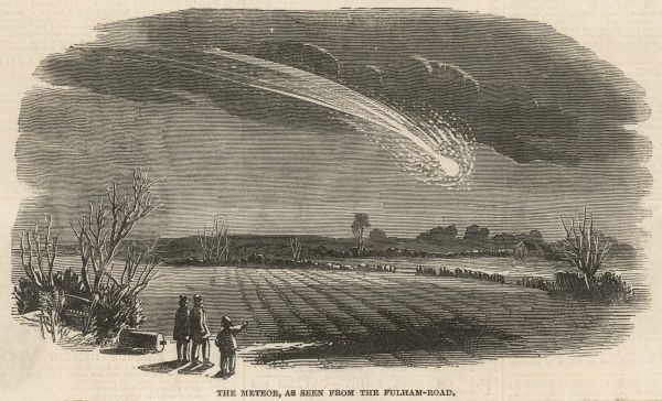 A meteor seen above the fields from the Fulham Road, West London