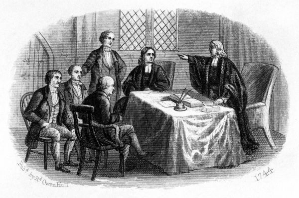 The first Wesleyan Conference is held at the Foundry, City Road, London - John Wesley addresses his companions, including his brother Charles. Date: 1744