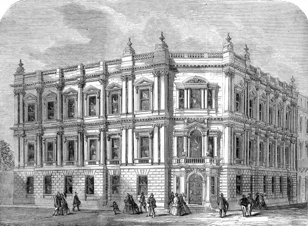 Engraving showing the exterior of the, then new, offices of the Metropolitan Board of Works in Spring Gardens, London, 1860