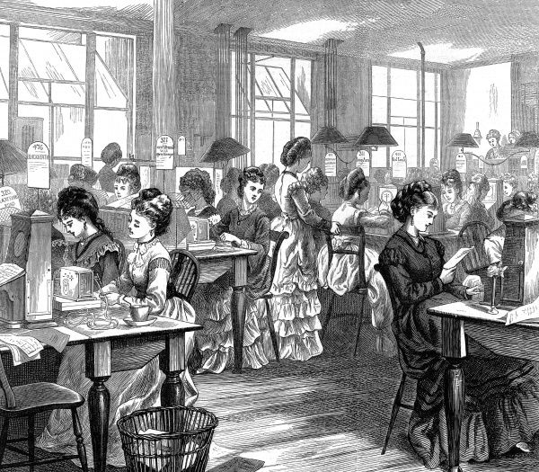Women at work in the Metropolitan Gallery in Telegraph Street receiving telegraphs for the London area