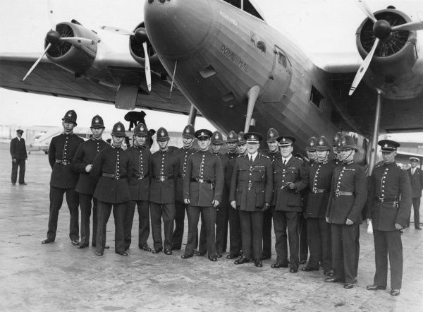 The Metropolitan Police Association Football Team prior to boarding a KLM four engine Fokker plane to Amsterdam