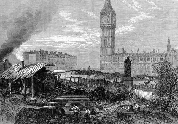 The Metropolitan District Railway works at Westminster. The extension of the worlds first underground railway, joining up Westminster and South Kensington to Paddington
