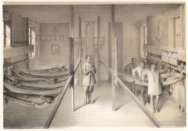 METTRAY (near Tours) Open agricultural and industrial colony for juvenile offenders, 1839-1939 : BOYS IN THEIR DORMITORY, WHERE THEY SLEEP IN HAMMOCKS