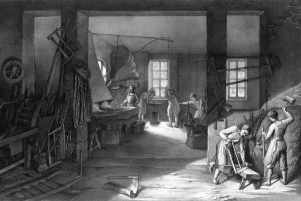 METTRAY (near Tours) Open agricultural and industrial colony for juvenile offenders, 1839-1939 : BOYS IN A WORKSHOP LEARN USEFUL TRADES Date: circa 1850