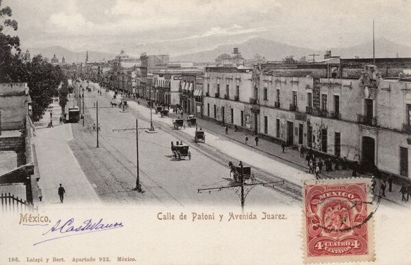 Mexico City - Calle de Patoni and Avenida Juarez Date: circa 1905