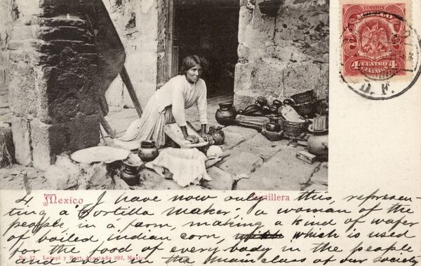 Mexico - Lady making tortillas. She is rolling out the dough on a stone (with a rolling pin), shaping the tortillas and cooking them on a hot stove, with a elaborate stone chimney. Date: circa 1905