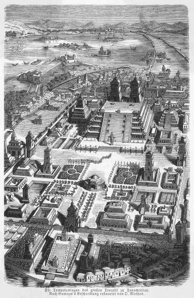 A reconstruction of the city of Tenochtitlan, the capital of pre-Columbian Mexico. Modern Mexico City developed over the site