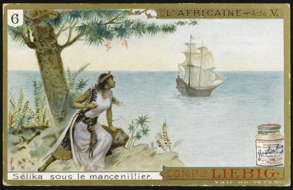 Act five - Selika, queen of Madagascar, watches her husband Vasco da Gama sail away with Ines, and sits under a manchineel tree, to breathe whose scent is fatal