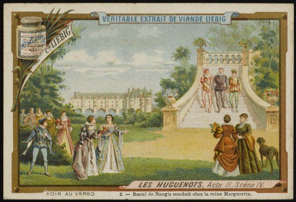 Act 2 scene 4 - the Huguenot Raoul de Nangis is conducted to meet queen Marguerite de Valois in the gardens of Chenonceaux