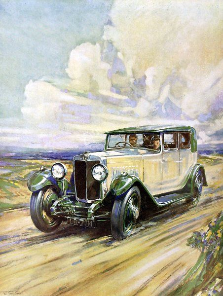 An illustration captioned 'Morning on the Moors' showing an M.G. Six Sports car, which at the time was one of the fastest standard sports cars available at a price of 510&quot