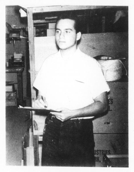 Julio Vasquez, focal point of poltergeist outbreak in the store-room of a store at Miami, Florida, investigated by William Roll