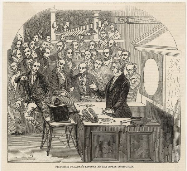 Michael Faraday (1791-1867), scientist, lecturing at the Royal Institution, London, on his discoveries in magnetism and light
