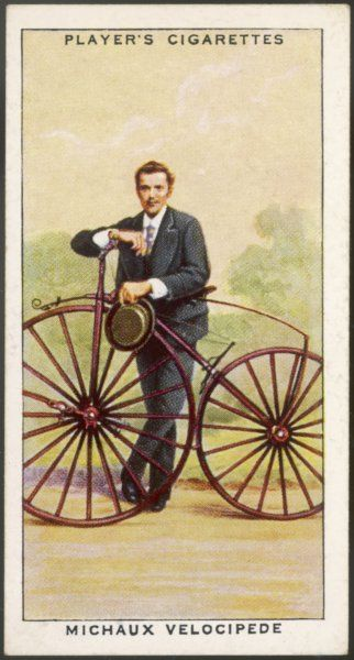 Ernest Michaux, son of Pierre, on a Michaux pedal-driven velocipede