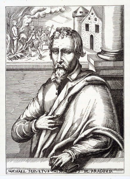 Miguel Serveto, known as MICHEL SERVETUS Spanish theologian and physician, burnt by Calvin at Geneva as a heretic, 27 October 1553