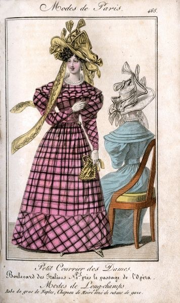 Woman wearing a pink check gros de Naples dress with a yellow Moire hat decorated with ribbons