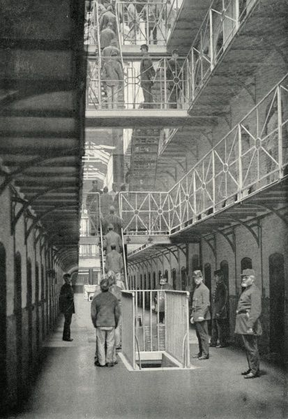 Prisoners returning to their cells for their midday meal at Wormwood Scrubs Prison in West London. The prison was opened as a convict prison in 1883 then used as a local prison from 1890