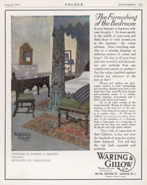 A harmonious bedroom designed by Waring and Gillow
